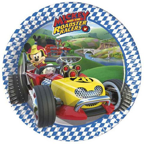 Set 8 farfurii de unica folosinta 20 cm Mickey Mouse and The Roadster Racers